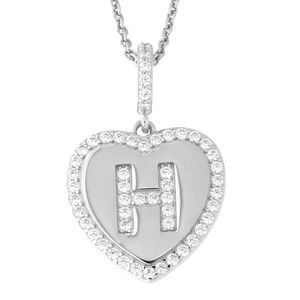 Letter H Initial Heart CZ Pendant Sterling Silver
